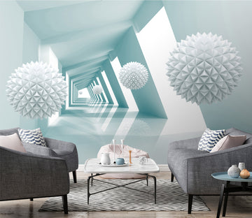 3D White Ball 043 Wall Murals