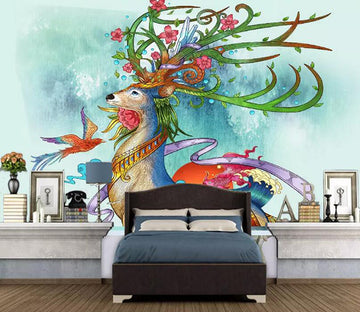 3D Color Deer 1173 Wall Murals
