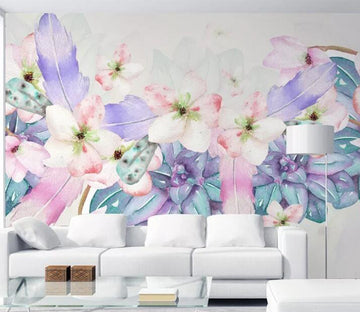 3D Flower Feather WC097 Wall Murals