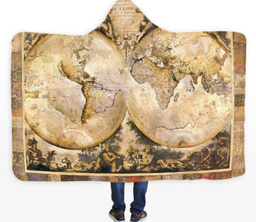 3D Spherical World Map 570 Hooded Blanket