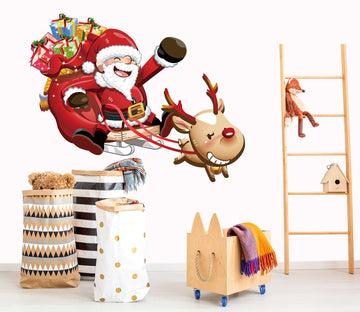 3D Sleigh Gift Deer 38 Wall Stickers Wallpaper AJ Wallpaper