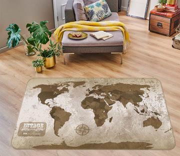 3D Abstract Stone 240 World Map Non Slip Rug Mat
