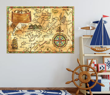 3D Nautical Route 208 World Map Wall Sticker