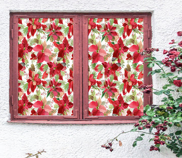 3D Red Flower Pattern 42200 Christmas Window Film Print Sticker Cling Stained Glass Xmas