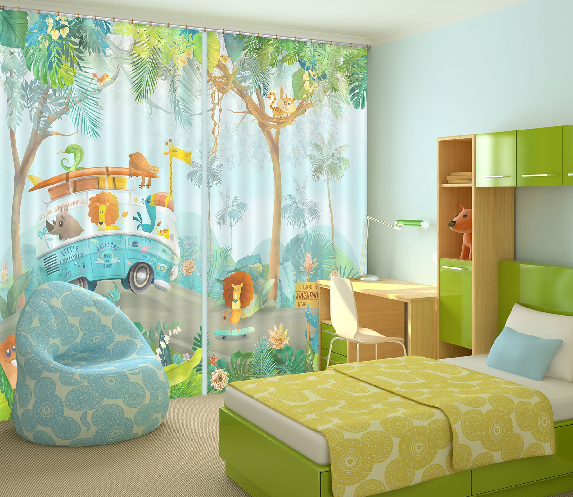 3D Forest Car 750 Curtains Drapes