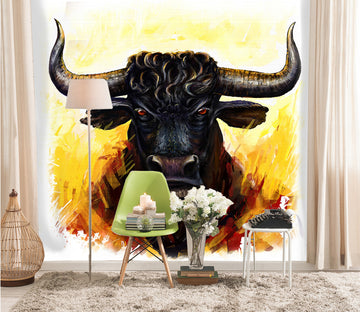 3D Black Bull Head 333 Wall Murals
