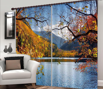 3D Autumn Lake 866 Curtains Drapes Wallpaper AJ Wallpaper