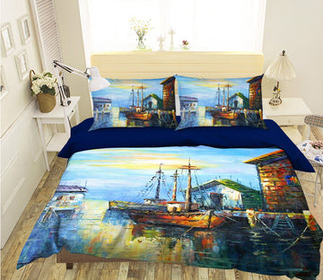 3D Oil Painting Boat 090 Bed Pillowcases Quilt