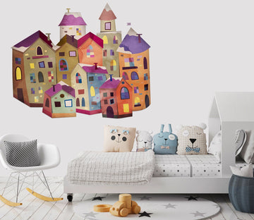 3D Graffiti Colored Building 32 Wall Stickers Wallpaper AJ Wallpaper