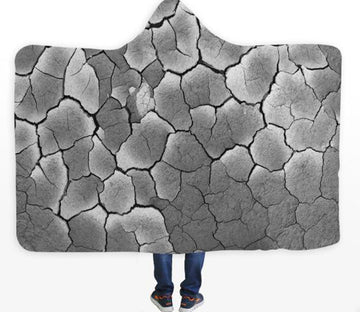 3D Stone Crack 184 Hooded Blanket