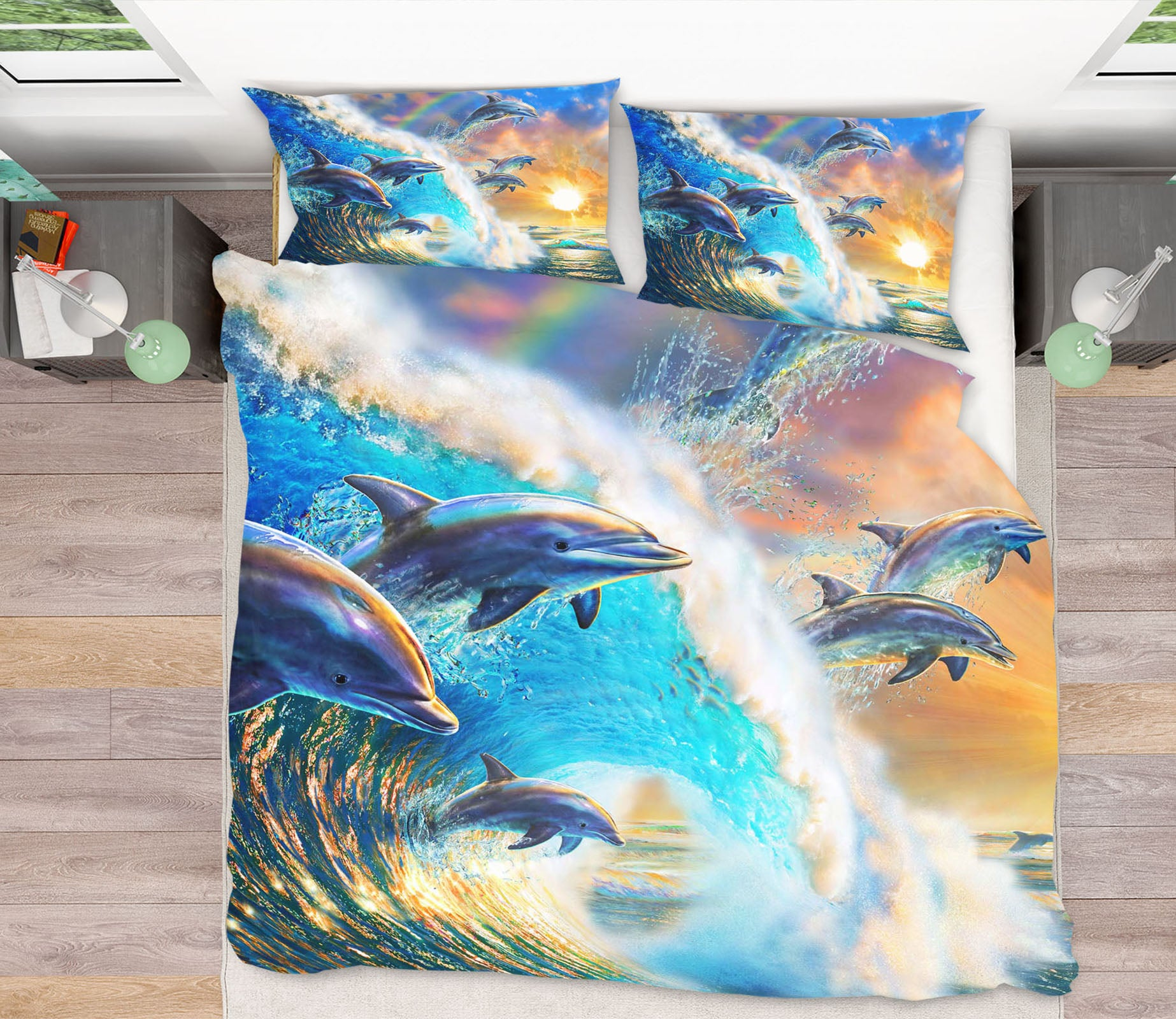 3D Dolphin Wave 2040 Adrian Chesterman Bedding Bed Pillowcases Quilt