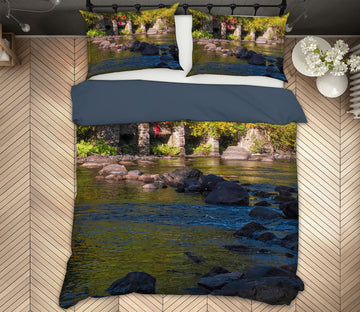 3D River Stones Leaves 1018 Jerry LoFaro bedding Bed Pillowcases Quilt