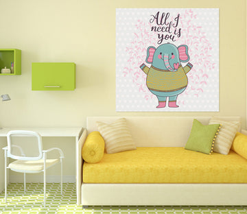 3D Cute Elephant 1005 Wall Sticker