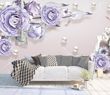 3D Purple Rose 1457 Wall Murals