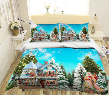 3D Christmas Villa Decoration 50 Bed Pillowcases Quilt