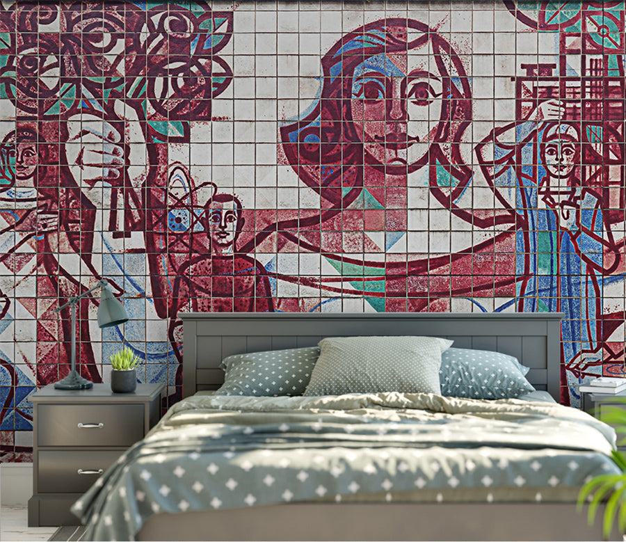 3D Sketch Girl WC023 Wall Murals