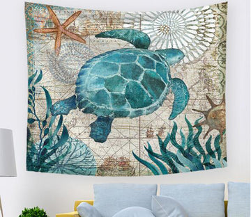 3D Green Turtle 1031 Tapestry Hanging Cloth Hang
