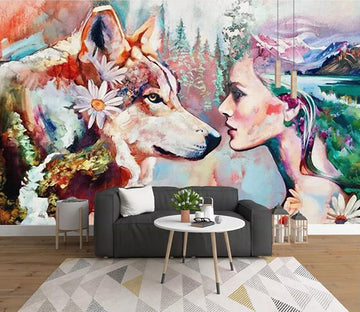 3D Lady Dog 1469 Wall Murals