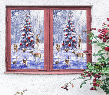 3D Snow Tree Deer 42184 Christmas Window Film Print Sticker Cling Stained Glass Xmas