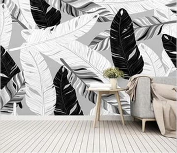 3D Black And White Feather 2064 Wall Murals