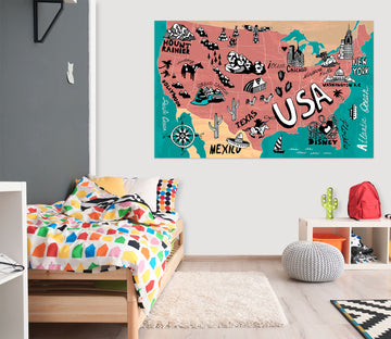 3D Pink Painting 217 World Map Wall Sticker