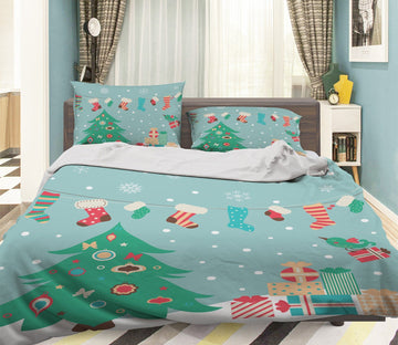 3D Cartoon Christmas Tree 22 Bed Pillowcases Quilt