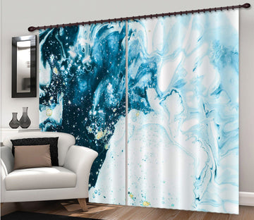 3D Gouache Blue Gradient 67 Curtains Drapes