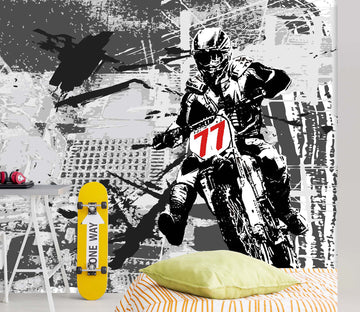 3D Hand Painted Motorcycle 036 Wall Murals
