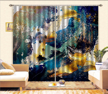 3D Blue Gold Abstract 63 Curtains Drapes