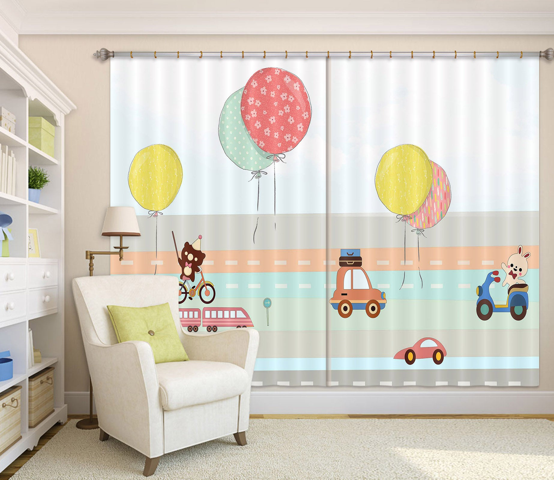 3D Colorful Balloons 742 Curtains Drapes
