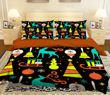 3D Colorful Snowman Pattern 34 Bed Pillowcases Quilt