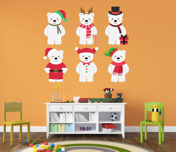 3D Dress Up White Bear 10 Wall Stickers