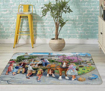 3D Petting The Horse 1095 Trevor Mitchell Rug Non Slip Rug Mat