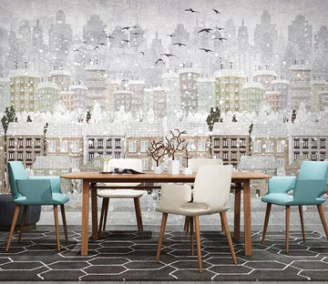 3D City Snow Bird WC771 Wall Murals