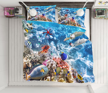 3D Seabed Fish Coral 21054 Bed Pillowcases Quilt