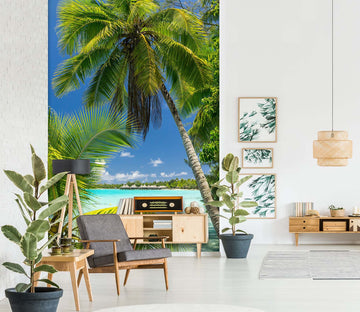 3D Coconut Tree Beach 1547 Wall Murals