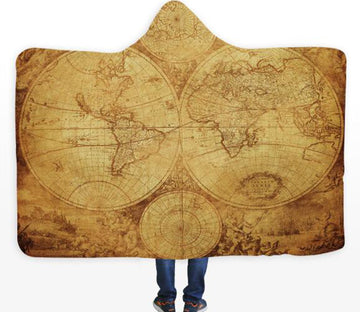 3D Yellow Map 575 Hooded Blanket