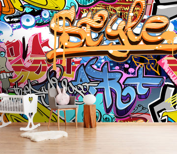 3D Color Graffiti 111 Wall Murals