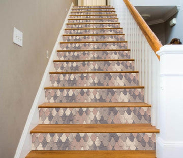 3D Fish Scale Mosaic 06863 Marble Tile Texture Stair Risers Wallpaper AJ Wallpaper