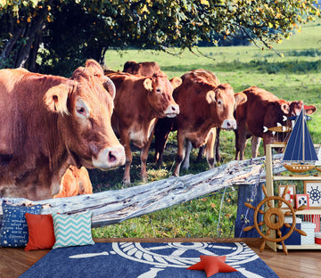 3D Cow Tree 295 Wall Murals
