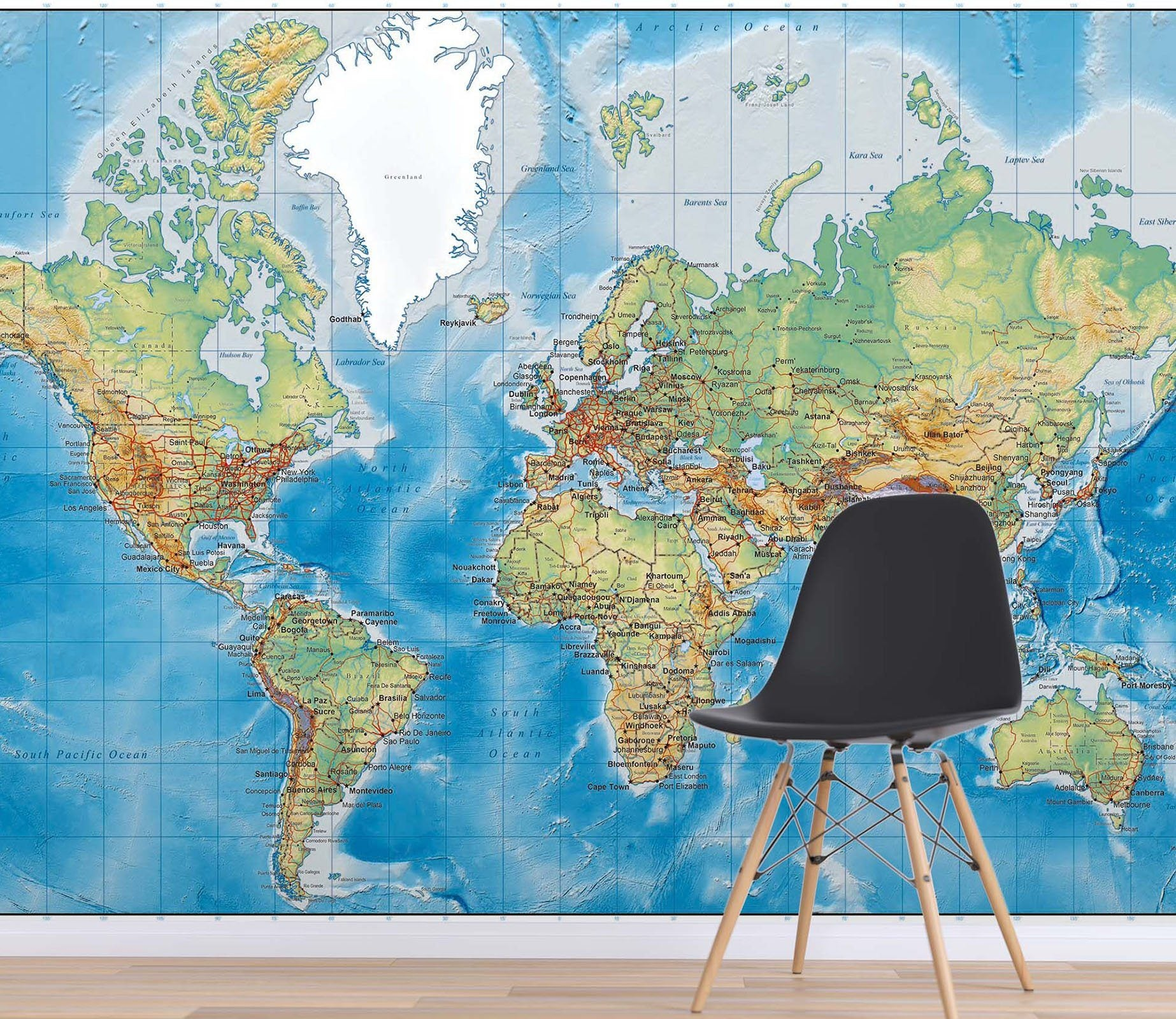 3D Blue World Map 026 Wall Murals Wallpaper AJ Wallpaper 2