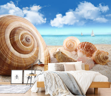 3D Beach Conch 387 Wall Murals