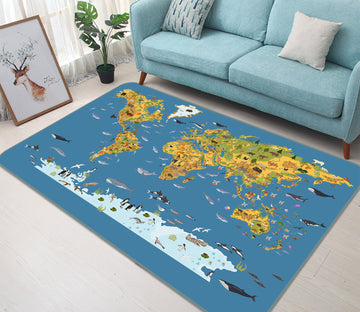 3D Beautiful World 301 World Map Non Slip Rug Mat