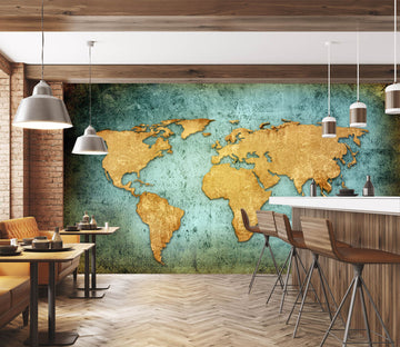 3D Gold Color Painting 2019 World Map Wall Murals
