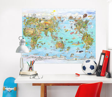 3D Animal Map 025 Michael Sewell Wall Sticker