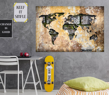 3D Vintage Paper 236 World Map Wall Sticker