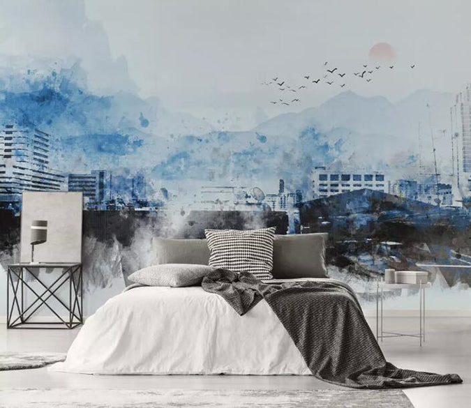 3D Misty City 1048 Wall Murals