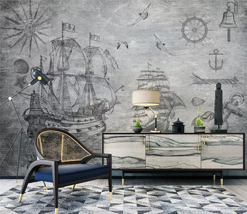 3D Steamship Painting WC1810 Wall Murals
