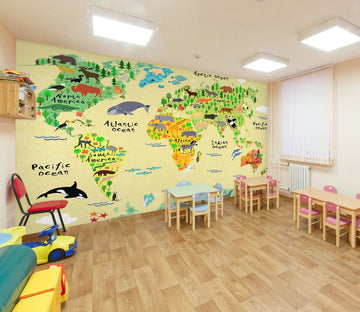 3D Cartoon Animal Map 052 Wall Murals Wallpaper AJ Wallpaper 2