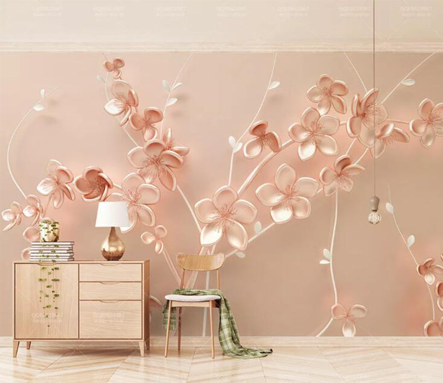 3D Pink Leaves WC142 Wall Murals
